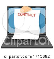 Hand Laptop Contract Signing Illustration