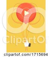 Okay Like Hand Play Button Balloon Illustration