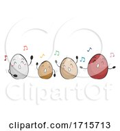 Poster, Art Print Of Mascot Eggs Dancing Illustration