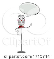 Mascot Microphone Read Speech Bubble Illustration