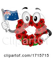 Mascot Poppy Wreath Remembrance Day Illustration