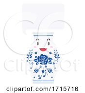 Mascot Porcelain Jar Speech Bubble Illustration