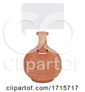 Mascot Pot Earthen Jar Speech Bubble Illustration