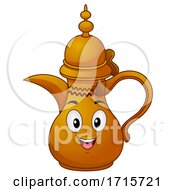 Mascot Dallah Qatar Coffee Pot Illustration