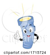 Mascot Flash Light On Okay Illustration