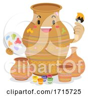 Mascot Jar Painting Pots Illustration