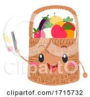 Mascot Basket Fruits Veggies Card Illustration