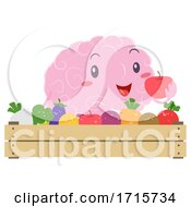 Mascot Brain Eat Fresh Foods Illustration