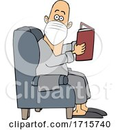 Cartoon Man Reading In A Chair And Wearing A Mask