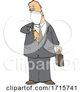 Cartoon Business Man Wearing A Mask And Checking His Watch