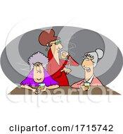 Cartoon Old Women Drinking Whiskey And Smoking