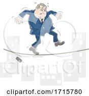 Fat Male Politician Walking Across A Tightrope