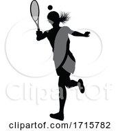 Poster, Art Print Of Tennis Silhouette Sport Player Woman