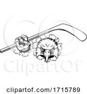 Poster, Art Print Of Eagle Ice Hockey Player Animal Sports Mascot