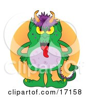Green Monster With Purple Hair And Horns On His Head Clipart Illustration