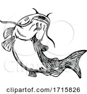 Catfish Mud Cat Jumping Up Black And White Drawing