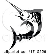 Blue Marlin Fish Jumping Up Retro Black And White