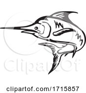 Blue Marlin Fish Jumping Up Black And White Retro