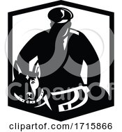 Canine Security Guard And Police Dog Badge Retro Black And White