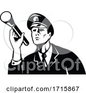 Policeman Security Guard Holding A Flashlight