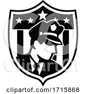 American Security Guard Looking To Side Badge Crest Retro Black And White