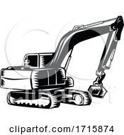 Poster, Art Print Of Construction Digger Mechanical Excavator
