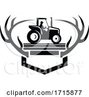 Poster, Art Print Of White Tail Deer Antler With Vintage Farm Tractor Side View Retro Black And White