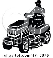 Poster, Art Print Of Gardener Riding Ride On Mower Mowing Lawn Retro Black And White