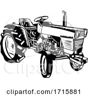 Vintage Farm Tractor Side View Woodcut Black And White
