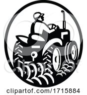 Organic Farmer Plowing Field With Vintage Tractor Oval Retro Monochrome