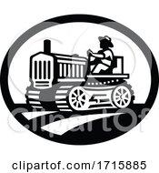 Organic Farmer Driving Vintage Farm Tractor Oval Retro Monochrome
