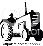 Poster, Art Print Of Organic Farmer Driving Vintage Farm Tractor Silhouette Retro Monochrome