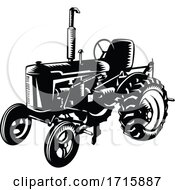 Poster, Art Print Of Vintage Farm Tractor Retro Woodcut Black And White