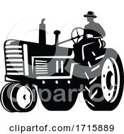 Poster, Art Print Of Organic Farmer Driving Vintage Tractor Retro Silhouette Black And White