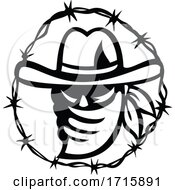 Texan Outlaw Or Bandit Wearing Face Mask Bandana With Barbed Wire Ring