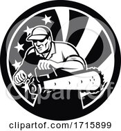 American Arborist With Chainsaw And USA Star Spangled Banner Black And White
