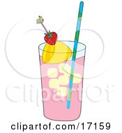 Tall Glass Of Pink Strawberry Or Raspberry Lemonade With Ice And A Straw Garnished With A Lemon Wedge And A Strawberry