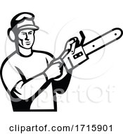 Arborist Or Tree Surgeon With Chainsaw Black And White Retro