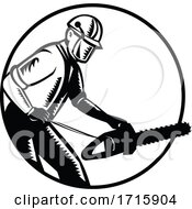 Arborist With Chainsaw Side View Woodcut Circle Retro