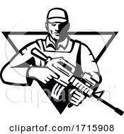 Soldier Military Serviceman Assault Rifle Front View Triangle Retro
