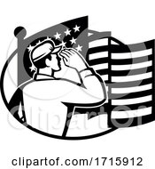 American Soldier Salute USA Stars And Stripes Flag Retro Black And White
