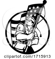 American Patriot Soldier Holding USA Star Spangled Banner Flag Retro Black And White