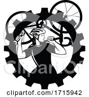 Poster, Art Print Of Bicycle Mechanic Cyclist Carry Bike_gear Bw Cut