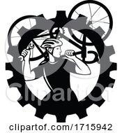 Bicycle Mechanic Cyclist Carry Bike GEAR BW CUT