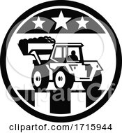 Poster, Art Print Of Mechanical Digger Excavator With Usa American Stars And Stripes