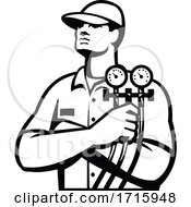 Poster, Art Print Of Cooling Technician Or Refrigeration And Air Conditioning Mechanic