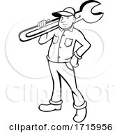 Poster, Art Print Of Retro Cartoon Plumber Or Handy Man Holding A Monkey Wrench