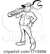 Retro Cartoon Plumber Or Handy Man Holding A Monkey Wrench