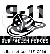 Fireman Hat 911 Fallen Heroes Black And White Retro