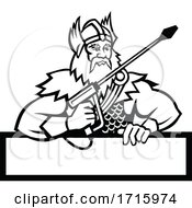 Poster, Art Print Of Thor Holding Pressure Washer Wand Mascot Black And White
